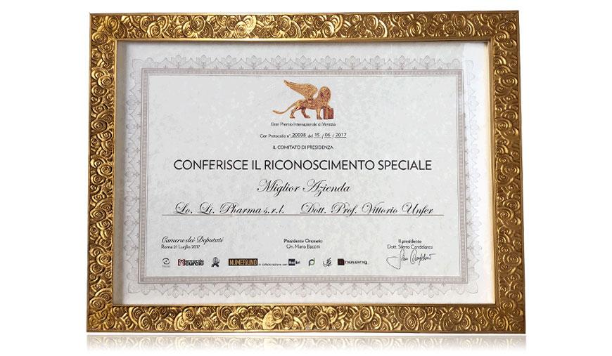 Lo.Li.Pharma Vince al Gran Premio Internazionale di Venezia dedicato alle aziende e all'imprenditoria